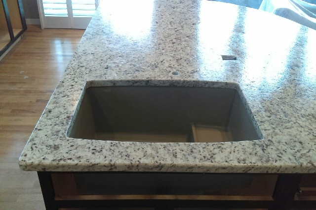 Bianco santa cecilia granite with leathered finish and double radius edges 601