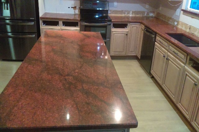 Red dragon granite with short bevel edges 854