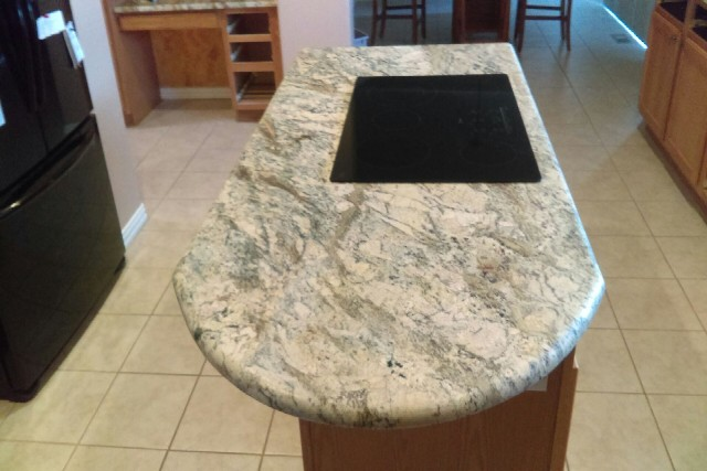 River bordeaux granite with 1 inch roundover edges 851